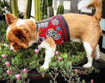 Dia de Muertos Sugar Skull Print Dog Harness, Dog Vest, Pet Accessories, Chihuahua Harness