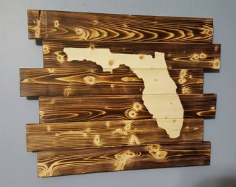 State of Florida Outline Silhouette - Florida Pallet Wooden Rustic Wall Art