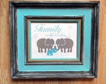 Blue Baby Elephant with Family