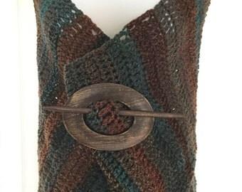 Handmade crochet hoodie cowl, circular scarf, versatile shawl