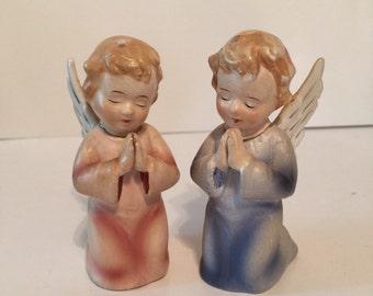 Vintage ceramic kneeling and praying Angels. Boy & Girl Japan