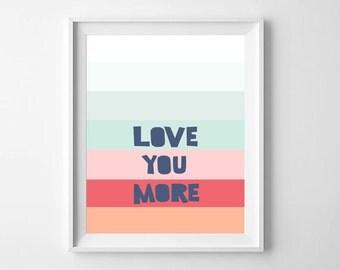 Nautical Nursery Prints, Nursery Wall Prints, Nursery Wall Art, Love You More,  Nursery Decor, Nursery Printable, Nursery illustration