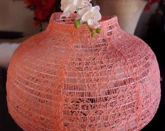"22"" Roseate / Pink Coral Lace Fabric Psytker Bell Lantern - 22EVSLC1-CR"