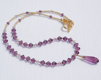 Swarovski amethyst crystal and gold necklace
