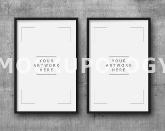 11x17 set of two vertical digital black frame mockup on concrete wall background styled photography poster mockup instant download