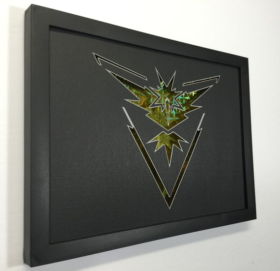 Pokemon Go Team Instinct 3D Paper Craft Shadow Box 6x8 with Yellow Holographic Back Card