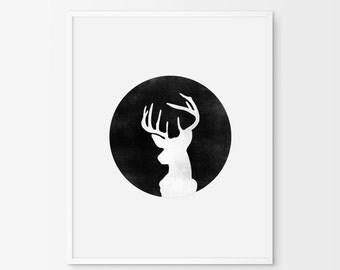 Black and White Deer print,Deer Print, Deer Head Print, Digital Download, Wall Art, Printable Art, Wall Print, Deer Art , Deer Silhouette