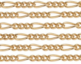 1 FT 4.6x2 mm 14K Gold Filled Figaro Chain 24 Gauge (GF2031C) Price Per Foot