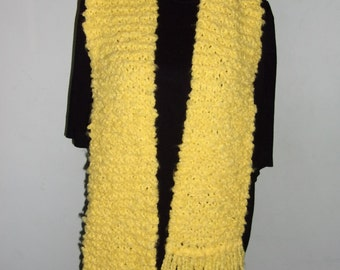 Hand Knitted Soft Yellow Scarf