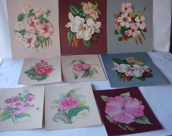 Lot of 9 Botanical Lithographs 1940s &50s John Cooper Lithos of Floral Art by Georgia Caldwell - Eugnia Grant and E Witzleben