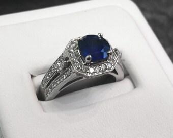 Deep Blue Sapphire 14k White Gold Ring Size 7.25 0.60ctw diamonds