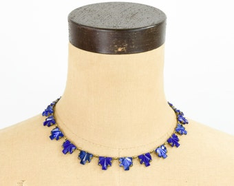 20s Blue Step Glass Necklace | Art Deco | Ziggurat |Czech Glass