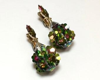 60s Crystal Watermelon Dangle Earrings   AB Crystal Drop Earrings   Lewis Segal