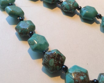 Magnesite stone  turquoise colour single strand long necklace set
