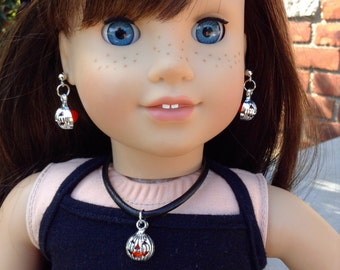 """Jack O Latern with opaque orange faceted glass bead Halloween necklace and earrings set for American Girl and other 18"""" dolls"""