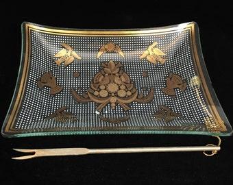 1960s Vintage Georges Briard Sonata Gold Leaf Glass Garnish Serving Tray with Fork