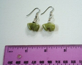 Handcrafted genuine semi-precious stone carved olivine bear earrings*surgical steel earwires*20mm wide x 12.5 mm tall stone*earring backs in