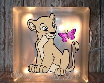 Nala glass block, the lion king, Nala night light, glass block night light, bank, kids decor, children decor, children's night light, vinyl