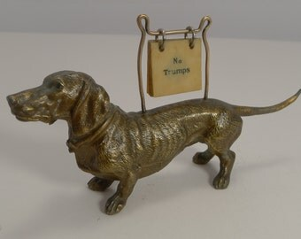 Antique English Figural Trumps Marker - Dog - Dachshund