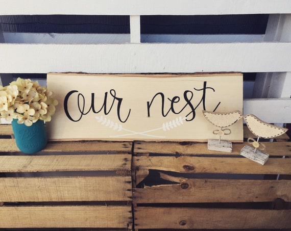 """Customized wood slice sign, last name sign, """"our nest"""", wood sign"""
