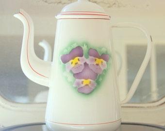Vintage Enamel Tea/Coffee Pot, Pansy Decor