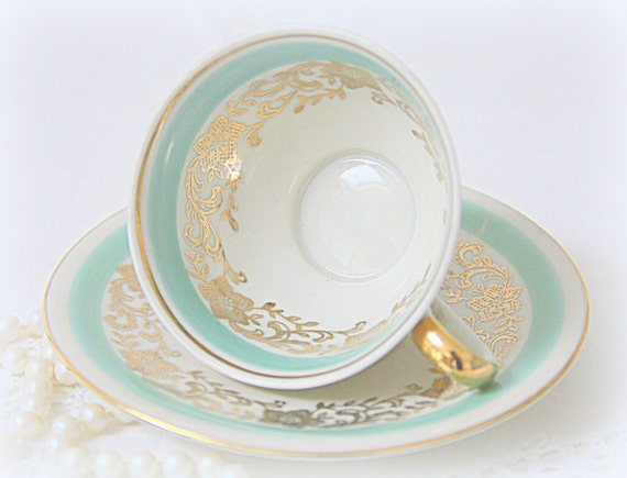 Beautiful Vintage Porcelain Demitasse Cup and Saucer, Aqua and Gold Decor, Bareuther Bavaria, Germany