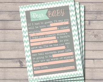 Baby Shower MadLibs Printable Game, Chevron, Mint Green (Turquoise) and Peach (pink), Fill in the Blanks Shower Game