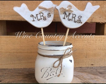 Wedding Cake Topper. Rustic Wedding Cake Topper. Cake Topper. Love Birds Cake Topper. Wooden Love Birds. Mr. & Mrs. Cake Topper.