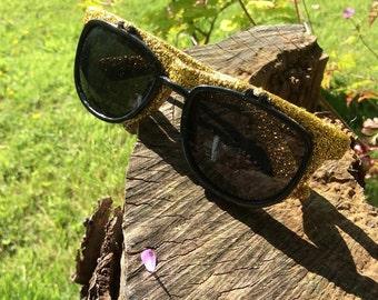 Gold Glitter Flip up Sunglasses. Festival accessory, party shades. summer sunglasses.