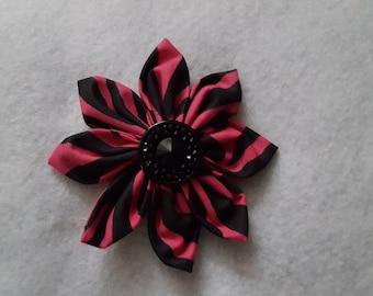 Pink Zebra Print Fabric Flower Clip