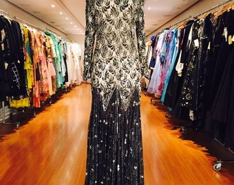 1970's Beaded Vintage Couture Gown