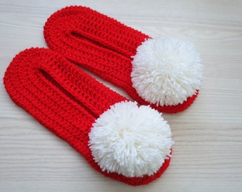FREE SHIPPING! Red Crochet Womens Slippers, Pompom Slippers, House Slippers, Womens Shoes, House Shoes, Womens Flats, Gift For Her