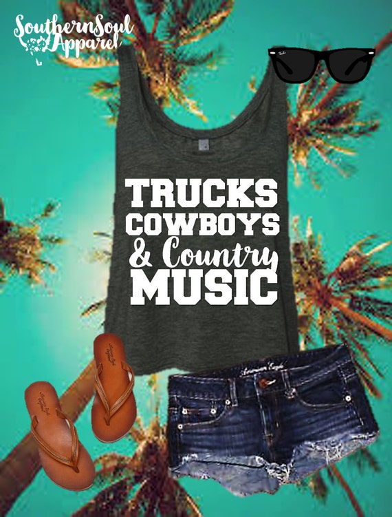Trucks Cowboys & Country Music Cropped Tank, Country Tank Top, Country Shirt, Concert Tank, Summer