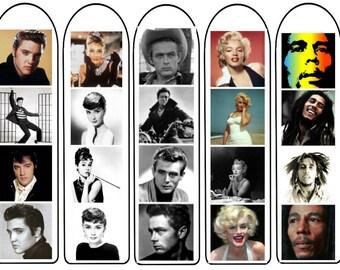 Icons Bookmarks digital download, marilyn monroe, audrey hepburn, elvis, james Dean, Bob Marley