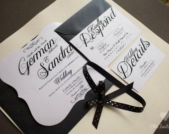 Luxury  Wedding Invitation White and Black Wedding Invitation (50 INVITATIONS)