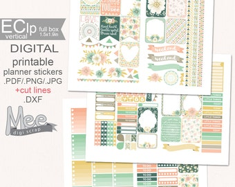 Sweet Boho Girl PRINTABLE planner stickers,Flower planner stickers,Shabby chic floral,mint blush gold ,EClp sticker kit,spring stickers