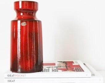 Vintage Vase. West German Pottery. Van Daalen. Ceramics and Pottery. Red Decor. WGP. Vase Rouge. 4527-20. Mid Century Modern. Modernist. 70s