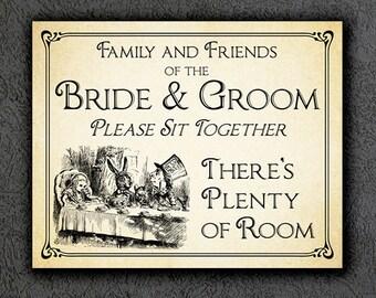 Alice in Wonderland Wedding Sign, Printable Wedding Sign, Wonderland Wedding Seating Sign, Wedding Decor, Instant Digital Download 009