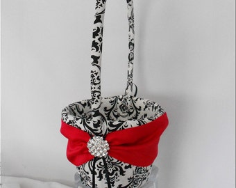 Black and White Madison Damask with Regal Red Wedding Flower Girl Basket, Madison Damask Basket