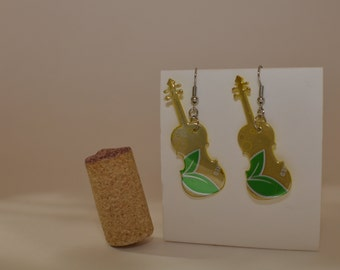 "Violin Earrings made from ""Zevia- Cream Soda"" can"