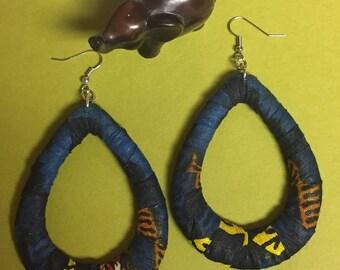 Dark Blue Kente Teardrop Hoop Earrings