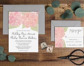 Watercolor Hydrangea Wedding Invitation, Blush Pink // Digital or Printed //