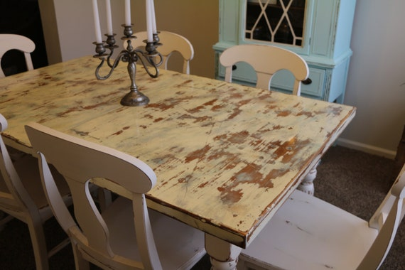 beautiful distressed aged wood kitchen table with 6 chairs