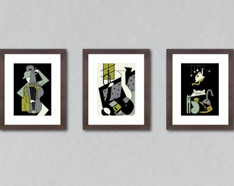 Set of 3 prints, set of prints, art print set, art prints, wall decor, home decor, cat print, music print, books print, music lover gift.