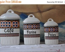 25% Sale French Kitchen Canisters Containers, Vintage French Decor, French Kitchen, Porcelain Containers, Made in France, 1940's Decor, Coun