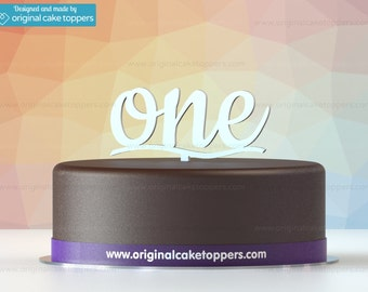 "Baby First Birthday Cake Topper - ""one"" - WHITE - OriginalCakeToppers"