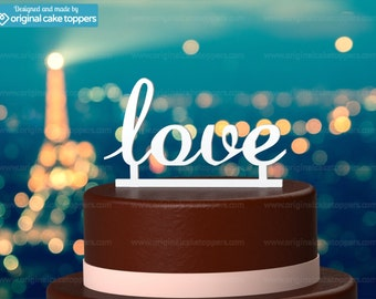 "Birthday / Wedding Cake Topper - ""Love"" - WHITE - OriginalCakeToppers"
