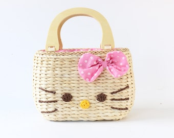 little girls handbag with hello kitty/gift for little girl/ kid's gift/straw handbag/Woman's Purse/clutch bag/Crossbody bag