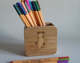 Wooden Pencil Case / lazy cat (Free Shipping!!!)