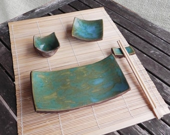Sushi set in ceramic - hand made - 4 pcs